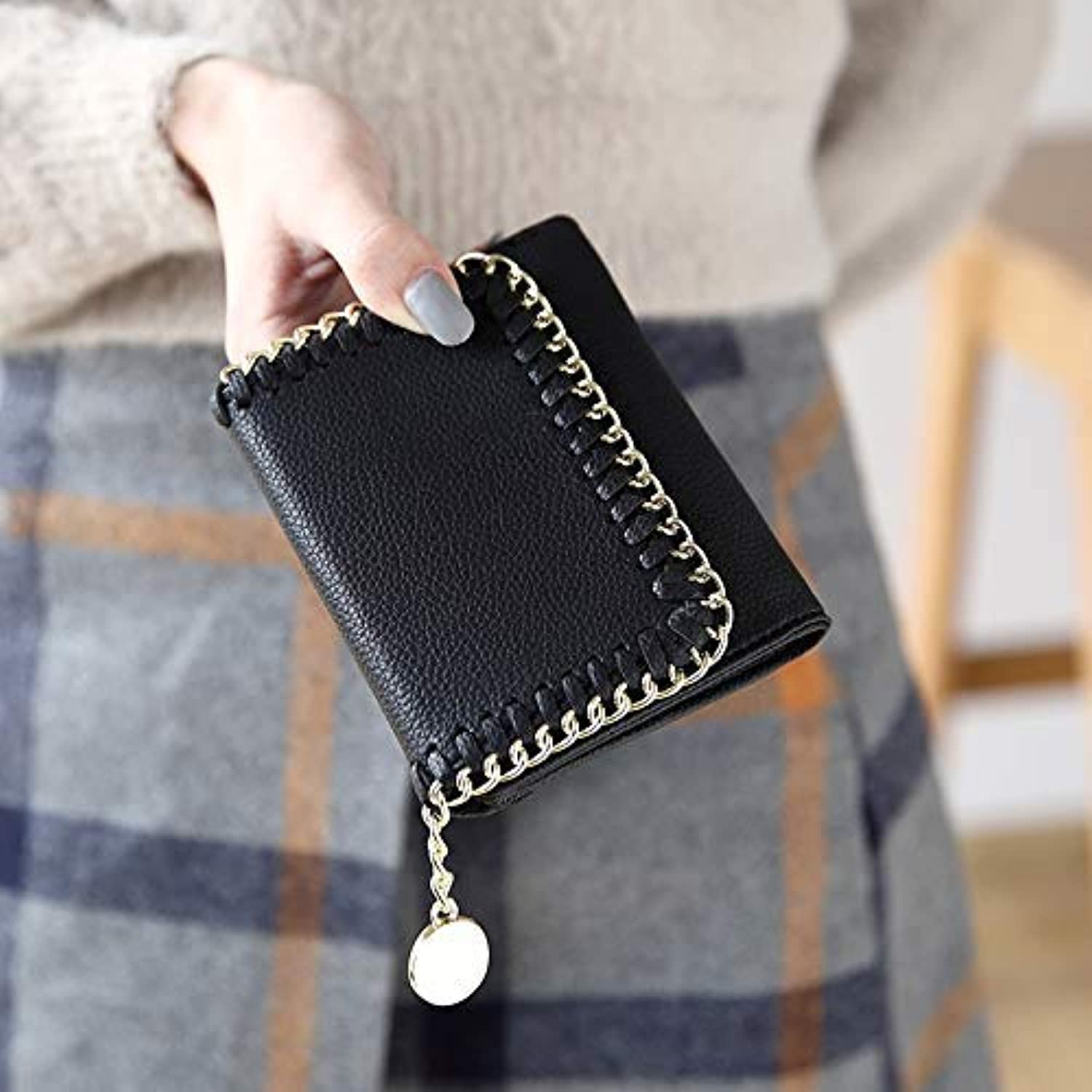 Women's Wallet Women's Short Paragraph Japanese and Korean Fashion Buckle MultiFunction Wallet Students LargeCapacity Woven Wallet (color   bluee) Ladies Purses (color   Black)