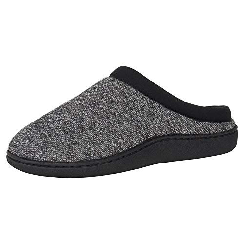 Hanes Men's Memory Foam Indoor Outdoor Clog Slipper Shoe with Fresh IQ, Black, Small
