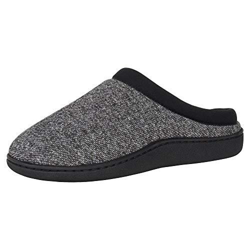 Hanes Men's ComfortSoft Memory Foam Indoor Outdoor Clog Slipper Shoe, Black, Large