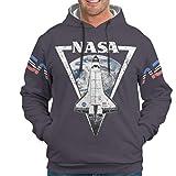 WellWellWellwell NASA - Sudadera con capucha para hombre, con bolsillos y cordón blanco M