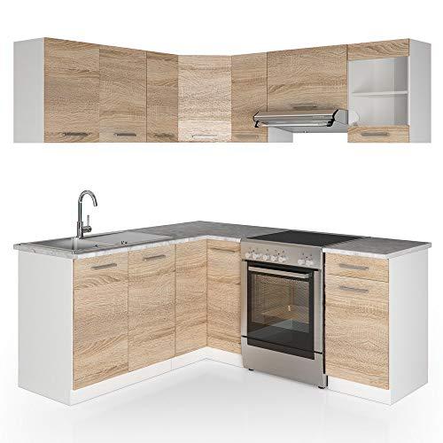 Vicco Küche Rick L-Form Küchenzeile Küchenblock Einbauküche 167x187cm Sonoma - frei kombinierbare Möbel-Module