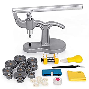 BYNIIUR 19 Pcs Watch Press Set Watch Repair kit with 18mm-50mm Fitting Dies for Watch Back Case Remover Closer and Battery Replacement