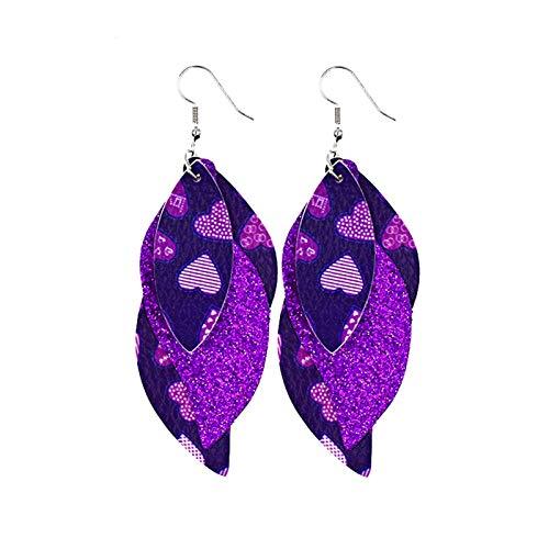 Ruby569y Pendientes colgantes para mujeres y niñas, pendientes de cuero en forma de S, pendientes brillantes de lentejuelas, joyería accesorios regalos - 03
