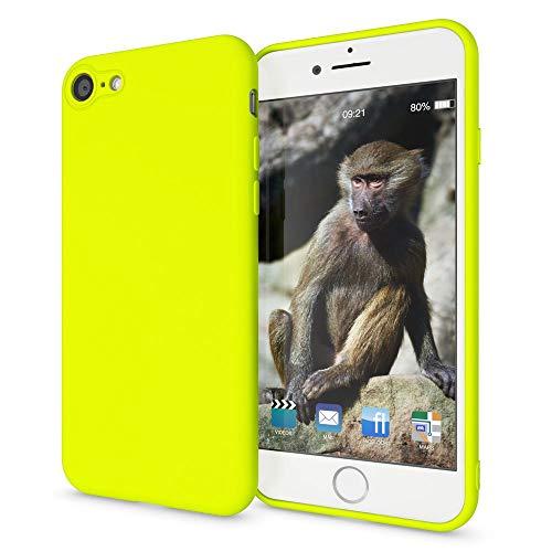 NALIA Custodia Neon compatibile con iPhone SE 2020/8 / 7, Cover Protettiva Morbido Silicone Gel Copertura Antiurto, Case Skin Resistente Telefono Cellulare Protezione Gomma Bumper, Colore:Giallo