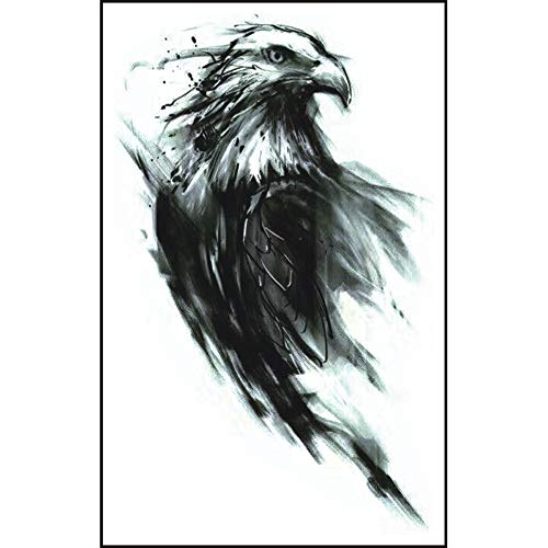 Schwarz Tattoo Aufkleber, 3D Adler Muster temporäre Tattoo Aufkleber für Körper, Gesicht, Arm/Armband wasserdichte Fake Tattoos, Temporäre Tattoos