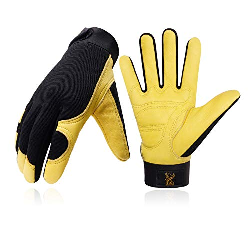 Deerskin Leather Work Gloves for Men & Women, Stretchable Utility Safety Work Gloves Mechanics Gloves Driver Work Gloves, Flexible Breathable Working Gloves (L, Yellow)