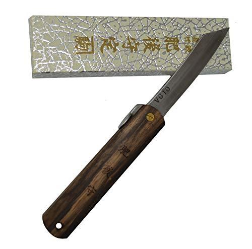 Higonokami Japanisches handgefertigtes Klappmesser Taschenmesser schwarzes Bombay-Holz VG-10 Klinge Handgefertigt in Japan von Nagao Kanekoma