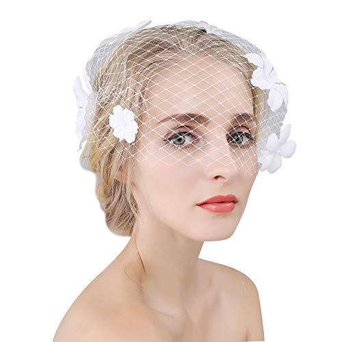 LONTG Voilette Mariée Élégante Voile de Mariage Courte en Maille avec Pince à Cheveux Acccesoires Coiffure de Mariée Fascinator Bibi Petit Chapeau de Mariage Florale pour Photographie Bal Soirée