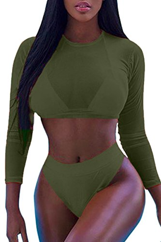 Meyeeka Womens Mesh 3 PCS Halter Trendy Swimsuit High Waisted Plus Size Swimwear Army Green