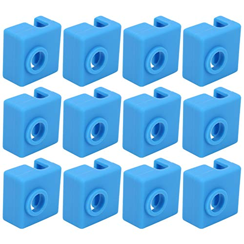 WanRomJun Blue 12pcs Silicone Socks Aluminum Heater Block Cover Accessory For MK7/8/9 3D Printer Heater Block Silicone Sock
