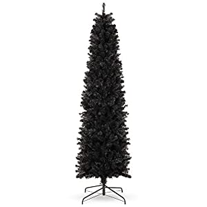 Best Choice Products 7.5ft Black Artificial Holiday Christmas Pencil Tree for Home, Office, Party Decoration w/ 972 Tips, Metal Hinges & Base