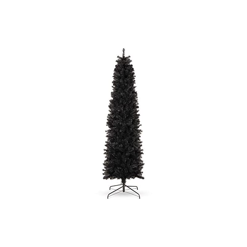 silk flower arrangements best choice products 7.5ft black artificial holiday christmas pencil tree for home, office, party decoration w/ 972 tips, metal hinges & base