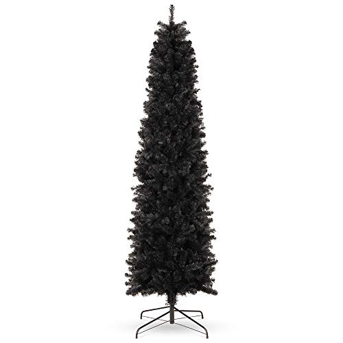 Best Choice Products 6ft Black Artificial Holiday Christmas Pencil Tree for Home, Office, Party Decoration w/ 608 Tips, Metal Hinges & Base