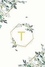 "Τ: τ Tau, Initial Monogram Greek Alphabet Letter Τ Tau, Cute Cover Leaves Decoration, Lined Notebook/Journal, 100 Pages, 6""x9"", Soft Cover, Matte Finish"