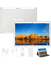Yestel Tablet touchscreen 10,1 inch Android 10.0 met WI-FI-tablets met 4 GB RAM + 64 GB ROM, HD-camera 5 MP + 8 MP, dual-sim, 8000 mAh (tas/hoes/type C) - zilver