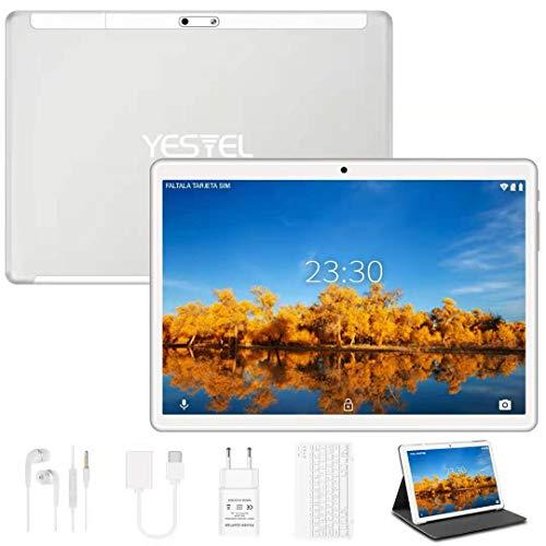 YESTEL Tablet 10 Pollici con WiFi Android 10.0 Originale 4GB RAM + 64GB ROM con Schermo IPS HD Quad Core Tablet PC | Fotocamera 5MP + 8MP | Dual LTE SIM | Tablets con Tastiera - Argento