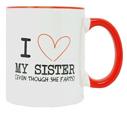 Funny Guy Mugs I Love My Sister Ceramic Coffee Mug, White, 11-Ounce
