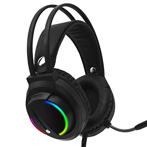 SFBBBO Auriculares Gaming Auriculares con Cable 3,5 Mm Auriculares para Juegos Auriculares con Sonido Envolvente 7.1 Luz RGB para computadora Gamer Ps4 con micrófono 7.1ChannleUSBPlug