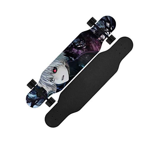 42-Zoll-Anfänger Cruiser Longboard Anime Tokyo Ghoul Kaneki Ken Skateboard Komplett Downhill Cruising Tanzen Standard-Skateboard for Erwachsene Kinder Jungen Jugendliche Mädchen (grau)