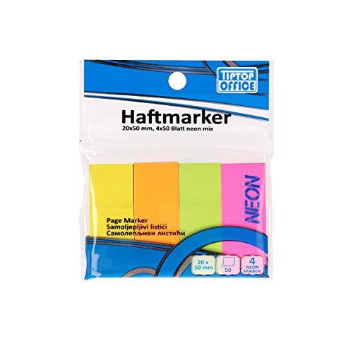 TIPTOP OFFICE Haftmarker 20x50mm, 4x50mm Blat, Neon Mix, TTO 405023, Farbig, Seortiert