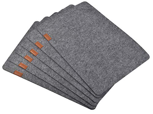 Aonewoe Felt Placemats Set of 6 Absorbent Table Mats Non Slip Heat Resistant Place Mats for Wood Table(Grey)