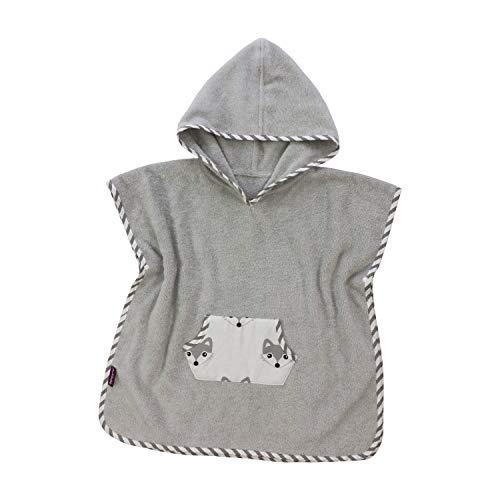 Puckdaddy Bade-Poncho Foxi – 57x84 cm, Baby-Poncho mit Kapuze mit Fuchs Muster in Weiß, flauschiger Kapuzenbademantel aus 100% Baumwolle & Frottee, Badehandtuch bis 5 Jahre