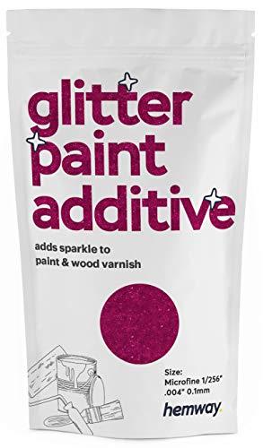 Hemway Aditivo de pintura con purpurina rosa oscura, microfina, 0,1 mm para emulsión a base de agua, pared interior y exterior, techo, madera, barniz, mate, brillante, satinado, seda, 100 g