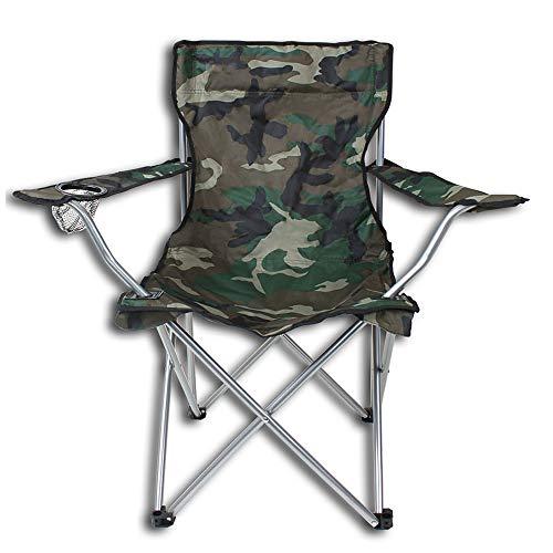 nxtbuy Campingstuhl mit Getränkehalter - gepolsterter Klappstuhl für Zelten, Angeln, Wandern - Faltstuhl inkl. Transporttasche, Farbe:Tarnmuster