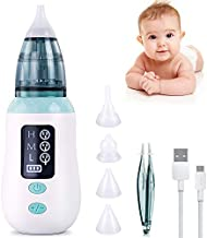 Nasal Aspirator, Queenmew Baby Nose Cleaner Electric & Ear Wax Remover with 3 Suction Levels & LED Display, 4 Reusable Snot Sucker Nozzles, Safe and Hygienic for Newborns, Toddlers, Infant and Adult