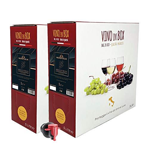Vino rosso Nero di Troia IGT Puglia - 2 Bag in box da 5 litri - Vino rosso prodotto da uve pugliesi al 100{cbd62f3335e97258b167bbfa376f167dcba46e00440af847890eb81be2e5a5fe}