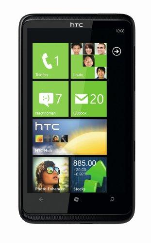 HTC HD7 Smartphone (10,9 cm (4,3 Zoll) Touchscreen, Windows Phone 7 OS, 5MP Kamera, GPS, Dolby Mobile, 8 GB interner Speicher, ohne Branding) schwarz