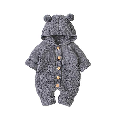 WOCACHI Knit Baby Jumpsuit, Newborn Infant Baby Girl Boy Winter Warm Coat Knit Outwear Hooded Jumpsuit Newborn Mom Daughter Son Coverall Layette Sets Best Gift Multi Adorable Outfits Gray