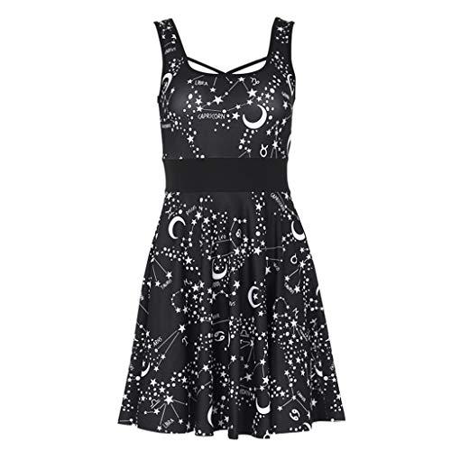 Janly Dress - Vestido punk para mujer, estilo gtico, color negro, retro, club, mini vestidos de luna, vintage, sin mangas, vestidos de disfraz de Janly (L, negro)