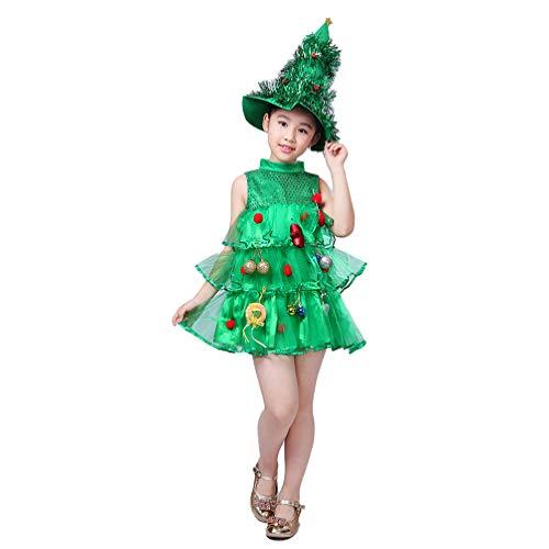 Holibanna Vestido de tutú de Disfraz de Cosplay de árbol de Navidad con Sombrero espectáculo de Escenario Traje para niños Fiesta temática de Navidad 100-150 cm