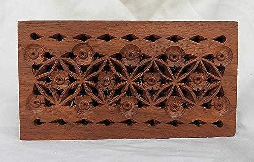 . BO Box Potpourri-Box aus Holz, mit durchbrochenem Deckel, handgeschnitzter Holzdeckel