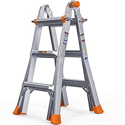 OT QOMOTOP 13 ft Multi Use Extension Ladder, Aluminum Telescopic Ladder, Spring Locks, 300 lbs Weight Rating, Easy to Move, ANSI Certified Step Ladder, Non-Slip Design …