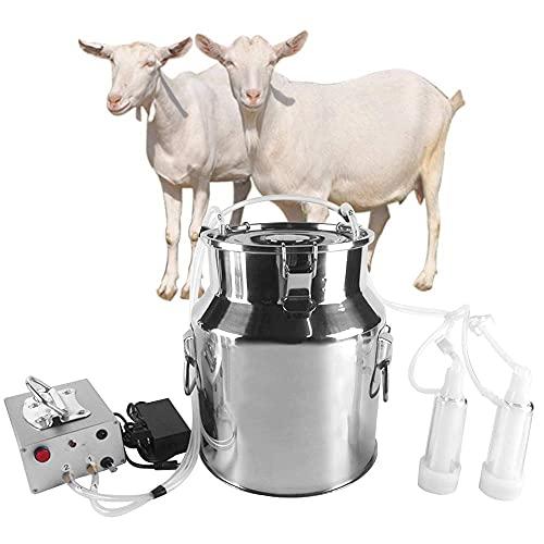 TELAM Mungitrice elettrica 14L, Mungitrice Elettrica Doppio Testa vacche capre ovine Pompa di aspirazione a pulsazione Automatica Portatile del Bestiame per aziende agricole o Famiglia Quotidiana
