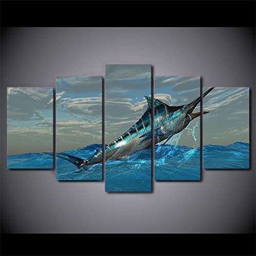 HHXXTTXS Cuadro de decoración de Sala de Estar con Estampado Modular con Marco de Lienzo, 5 Piezas, Pintura de atún Saltando, Arte de Pared, póster de pez Vela
