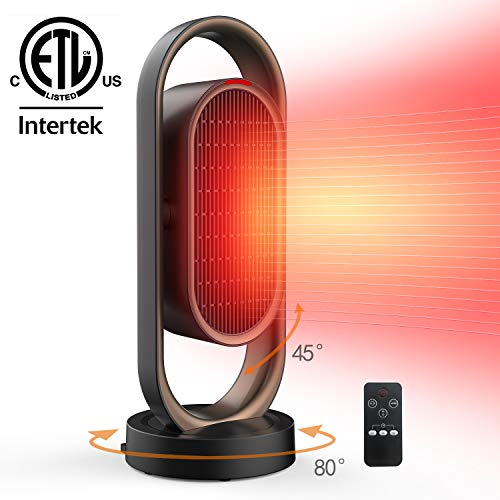 Space Heater for Home &Office - Ceramic Quiet Tower Heater 1 Seconds Heat Up Portable Small Personal Heater for Office Desk with 3 Temperature Modes,Oscillating Heater Fan for Home, Indoor Use Heater Room Space