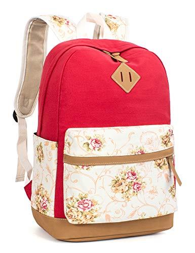 Leaper Floral College Bookbags Fashion Backpack Shoulder Bag Bookbags Red