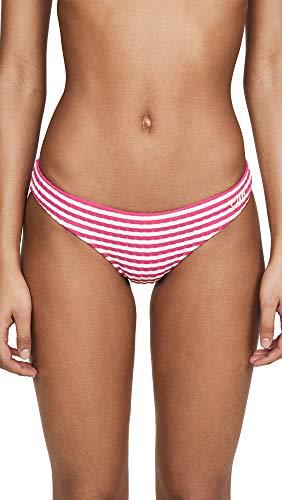 Solid & Striped Women's The Elle Bikini Bottoms, Fuchsia Stripe Rib, Small