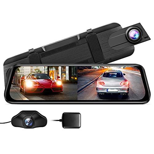 "AZDOME PG02S 2.5K Mirror Dash Cam, Voice Control 10"" Split-Screen Display Rear View Mirror Camera, Night Vision 170° FOV Dual Backup Camera with Sony Sensor, Loop Recording, Parking Mode, 32GB Card"