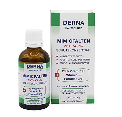 DERNA MIMICFALTEN Anti-Aging Schutzkonzentrat - 50 mL - mit 20% Vitamin C + Vitamin E + Ferulasäure - An sensibler Haut mit