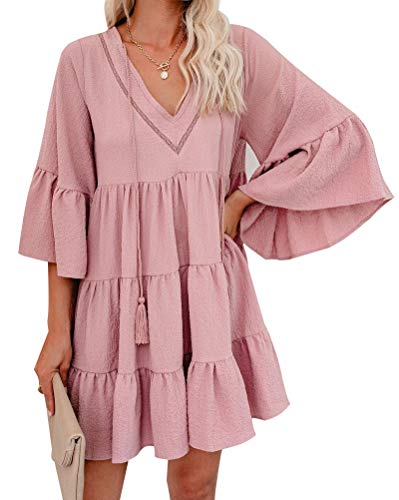 Minetom Damen Kleider Strand Elegant Casual A-Linie Kleid 3/4-Arm Sommerkleider Boho V-Ausschnitt Tunika Mini Kleid C Rosa XL