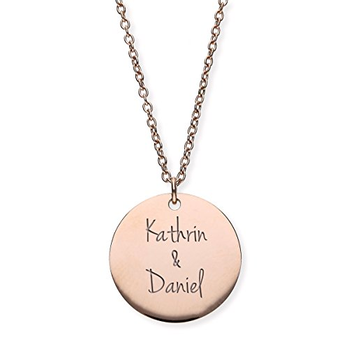 URBANHELDEN - Damen-Kette mit Wunschgravur Anhänger - Personalisierte Namenskette Amulett aus Edelstahl mit 2 Namen - Big Rosegold G5