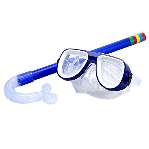 Gafas de natación para niños, gafas de natación, buceo, buceo, tubo de respiración, 5 colores, natación, deportes acuáticos, gafas de buceo para niños y niñas (color azul, talla única)