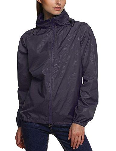 Zeagoo Women's Packable Outdoor Waterproof Hooded Raincoat Jacket Rainsuit Purple M