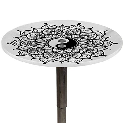Table Cover Ying Yang Waterproof Elastic Edged Table Cloth Retro Floral Yin Yang Design with Patterns Paisley Leaves Petals Boho for Picnic and Camping Table Black White Diameter 54'
