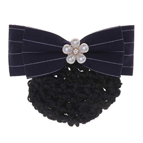Lurrose Bandeau en toile d'araignée Accessoires pour cheveux Nœud Halloween Épingle à cheveux pour femme (filet à cheveux rayé bleu et blanc)