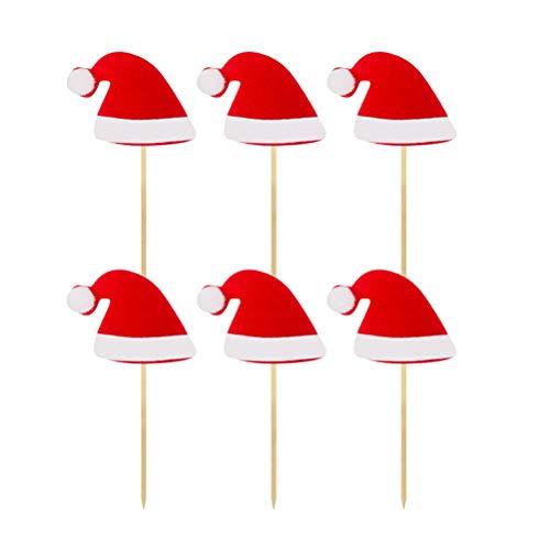 Amosfun 12 Stücke Filz Weihnachtsmütze Kuchen Topper Cupcake Picks Kuchendeko Tortendeko für Weihnachtsdeko Geburtstag Party Weihnachten Deko